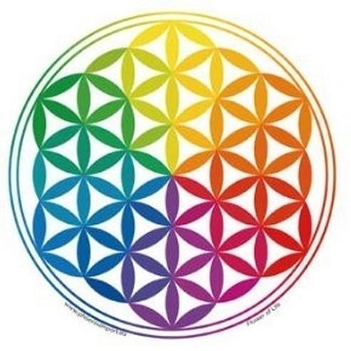 Sticker Vitrail Fleur de Vie Multicolor - S101