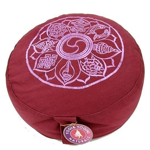 Coussin Aubergine Symboles Bouddhistes - 8043