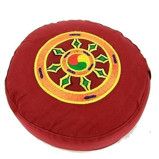 Coussin Rouge Roue du Dharma - 8067