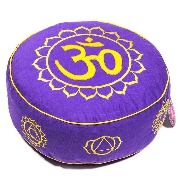 """Coussin de méditation Violet """"OM et Chakras"""" - 8028"""