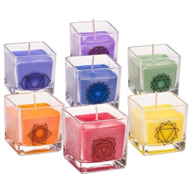 "7 bougies photophores cube ""Chakra"" Parfumées -12299"