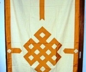Tenture de porte tibétaine Jaune/Orange - 16116