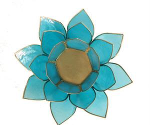 "Porte bougie ""Lotus"" Bleu - 12015"