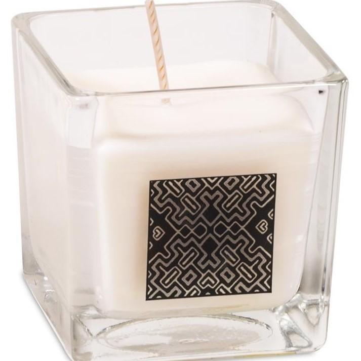 """bougie photophore cube """"motif Péruvien"""" Parfumée - Palo Santo 12310"""