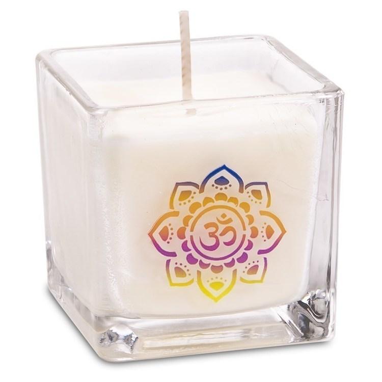 "bougie photophore cube ""motif OM "" Parfumée - Jasmin, Musc. -12312-"