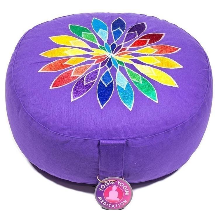 Coussin de méditation Violet avec Fleur Multicolore - 8022