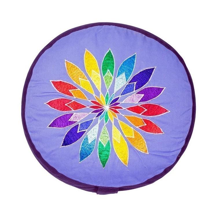 Coussin de méditation Bleu avec Fleur Multicolore - 8023