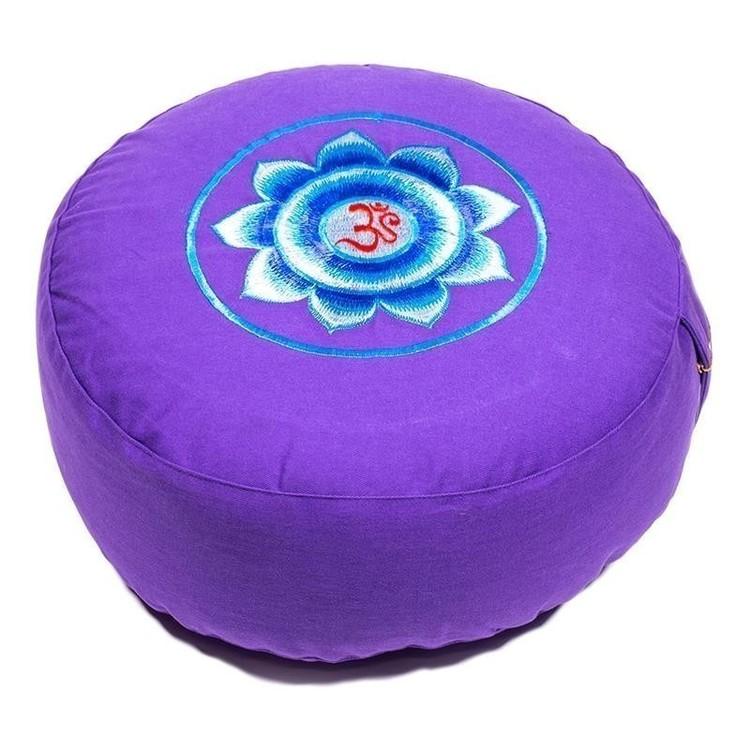 Coussin de méditation Violet Lotus et OM - 8062