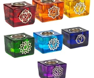 7 Bougeoirs cubes Chakra - 78288