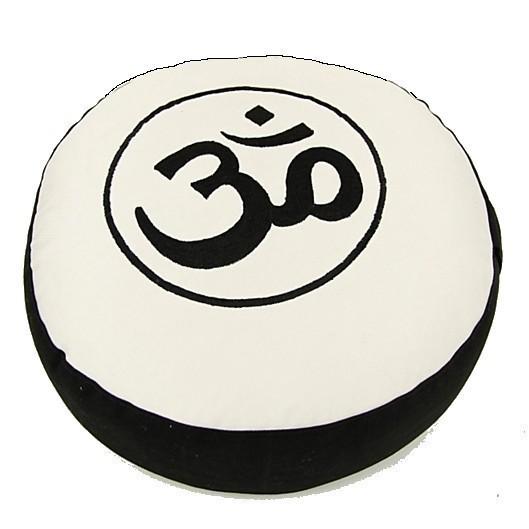 Coussin de méditation Noir/Crème symbole OM - 8007
