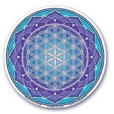 """Sticker Vitrail """"Fleur de Vie sur Lotus"""" - S56"""